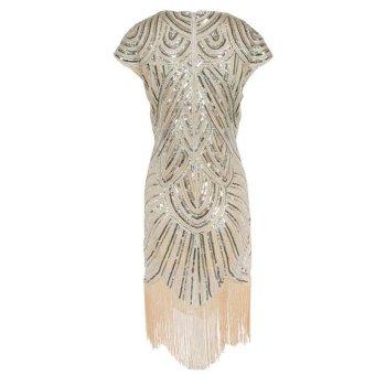 Amart Women Tassel Dress Vintage Fringe Evening Party Dresses (Beige) - intl - 3