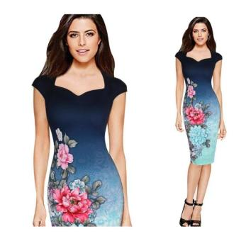 Amazon European and American hot selling V-neck printed dress pencil dress