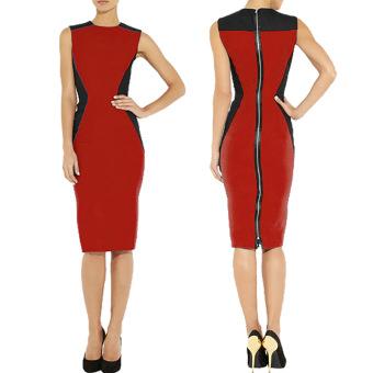 Amazon stitching full zip sleeveless sheath dress (Blue)