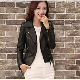 AngelCityMall Women PU Leather Coat Motor Jacket Short Coat Stand Collar Slim S-3XL (Black) - intl