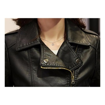 AngelCityMall Women PU Leather Coat Motor Jacket Short Coat StandCollar Slim S-3XL (Black) - intl - 5
