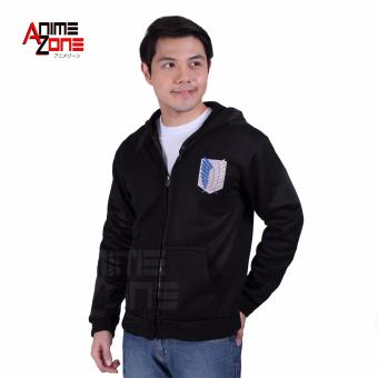 Anime Zone Attack On Titan Anime Unisex Zip-Up Hoodie Jacket(Black)
