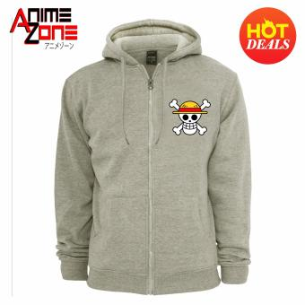 ANIME ZONE ONE PIECE Anime Straw Hat Pirates Unisex Zip-Up Outdoor Hoodie Jacket (Grey)
