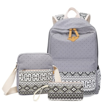 ANNS Fashion Canvas Women Backpack School bag For Teenagers GirlsBack Pack School bags Bagpack Mochila ( 3 Pieces Bag Set ) (Grey) -intl Price Philippines