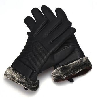 Anti Slip Men Thermal Winter Sports Leather Touch Screen Gloves Black - 4