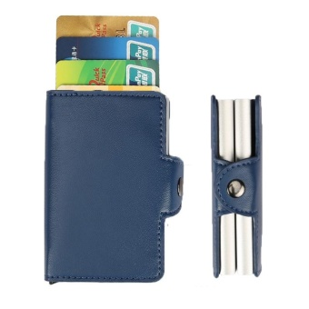 Anti-theft Double Metal RFID Credit Card Holder with RFID Blocking Pu Leather Mini Wallet Automatic Business Blocking Travel Card Holder Pop Up Case Credit Card Protector Case - intl