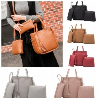 A+OB 3 Pcs Lady Womens PU Leather Tote Shoulder Bags Handbag PurseSet (Brown) - intl - 3