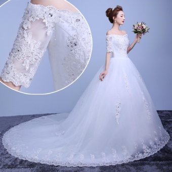 Applique Ivory Lace Border Ball Gown Wedding Dress Plus Size Beads Bridal Gown Twinkle Sequins Long Train Leondo From China Factory - intl