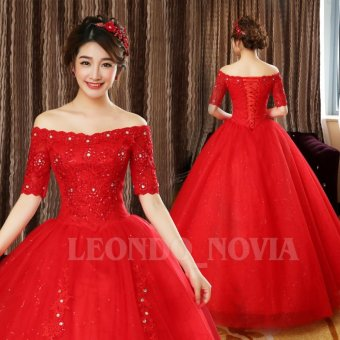Applique Red Lace Border Ball Gown Wedding Dress Plus Size Beads Bridal Gown Twinkle Sequins Leondo From China Factory - intl