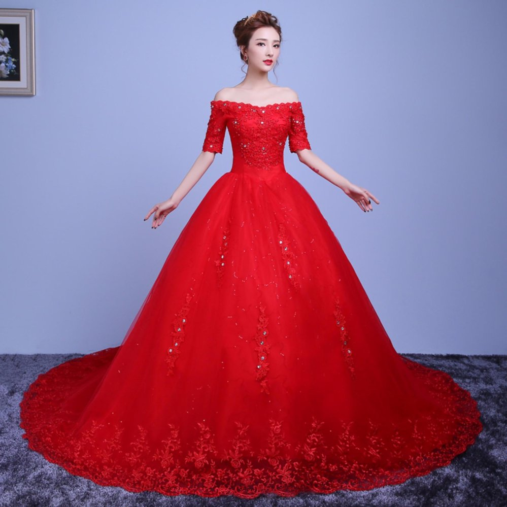 Philippines | Applique Red Lace Border Ball Gown Wedding Dress Plus ...
