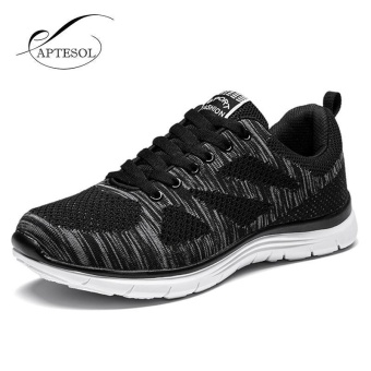 APTESOL Running Shoes For Mens Outdoor Sport Brand Air Mesh Breathable Sneakers Super Light Damping Soft Lace Up Shoes(Black)