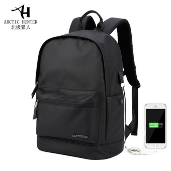 ARCTIC HUNTER Waterproof Wear-resistant Oxford 14-Inch LaptopBackpack with USB Charging Port Fashion Travel Bag School Bag(Black) - intl