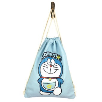 Artistic origional Student Travel environmentally friendly cloth bag shoulder canvas bag (Light blue bag DORAEMON) (Light blue bag DORAEMON)