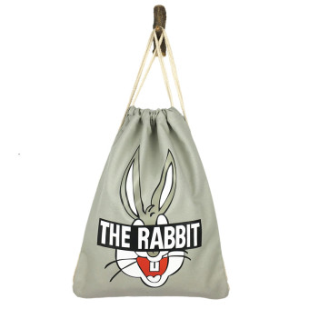 Artistic origional Student Travel environmentally friendly cloth bag shoulder canvas bag (Light gray bag Bugs Bunny) (Light gray bag Bugs Bunny)