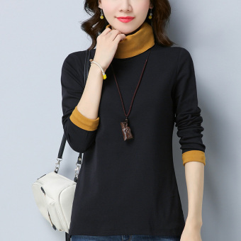Asangnala female long-sleeved New style contrasting color T-shirt with high collar bottoming shirt (Black)