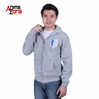 Attack On Titan Anime Unisex Zip-Up Hoodie Jacket (Light Grey)