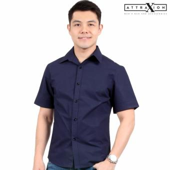 Attraxion Blake Plain Polo for Men (Navy Blue)