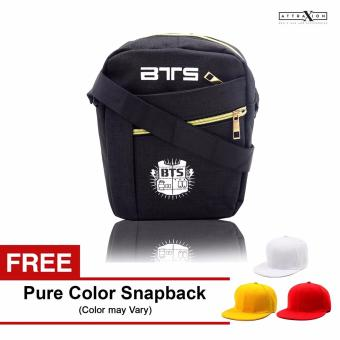 Attraxion BTS - 1722 Sling Crossbody Bag for Men (Black) With Free Pure Color Cap (Color may vary) Price Philippines