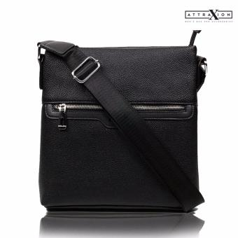 Attraxion Frank Leather Sling CrossBody Bag for Men (Black) Price Philippines