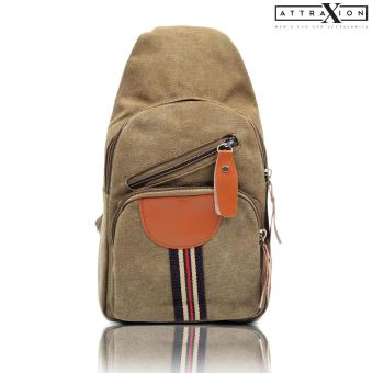 Attraxion Juris Canvas Crossbody Bag for Men (Light Brown)