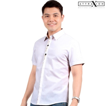 Attraxion Laurence Floral Placket Polo for Men (White)