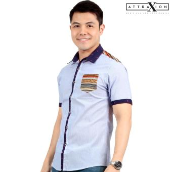 Attraxion Norman Bohemian Stripe Polo for Men (Blue)