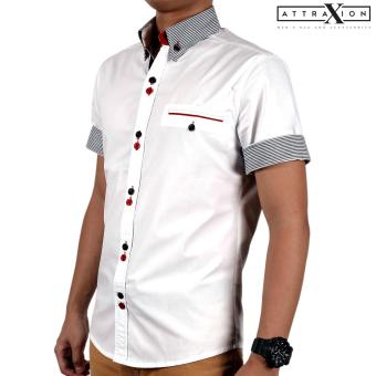 Attraxion Samuel Striped Collar Polo for Men (White) - 2
