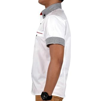 Attraxion Samuel Striped Collar Polo for Men (White) - 3