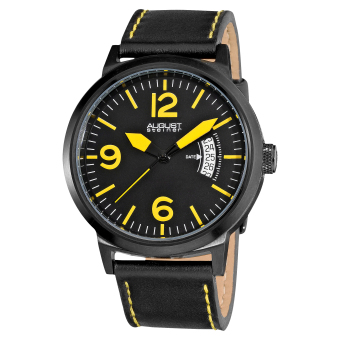 August Steiner Mercury Men's Black Leather Strap Watch AS8012YL