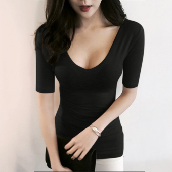 Autumn and Winter big collar V-neck slim fit nude color long-sleeved Top (Black)