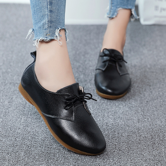 Autumn and Winter British style lace student women's shoes small leather shoes (Black)