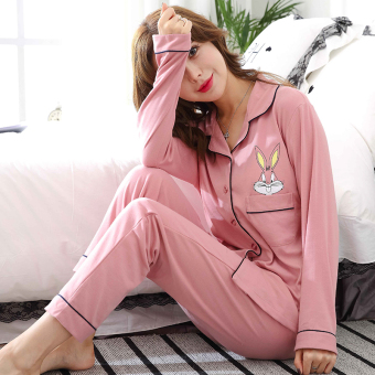 Autumn and Winter cotton female long-sleeved cotton cardigan tracksuit pajamas (Bugs Bunny women's)