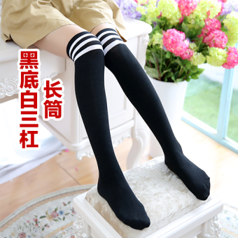 Autumn and Winter Japanese-style knee high socks stockings socks (Black White three bars long-barreled)