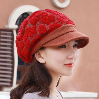 Autumn and Winter Korean-style female day beret cap hat (Red)