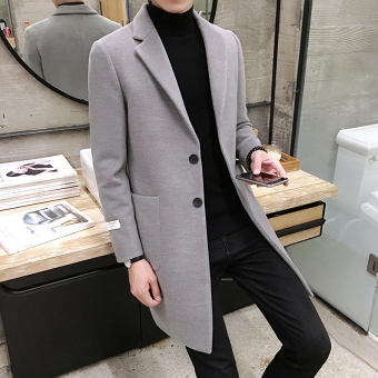Autumn and Winter Korean-style men's Slim fit mid-length coat (Gray)