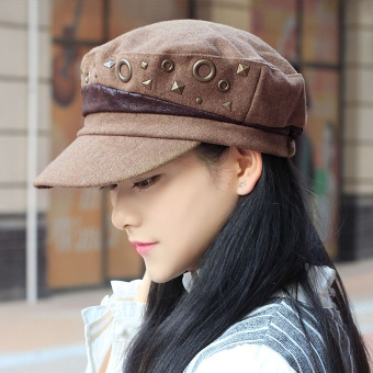 Autumn and Winter Korean-style riveted female day beret cap hat (Light Coffee)