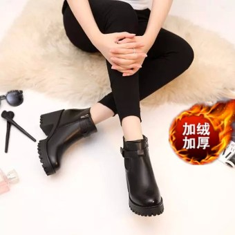 Autumn and Winter Korean-style waterproof platform round short boots (919 black thick velvet)
