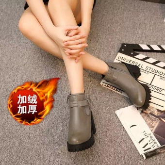 Autumn and Winter Korean-style waterproof platform round short boots (919 gray thick velvet)