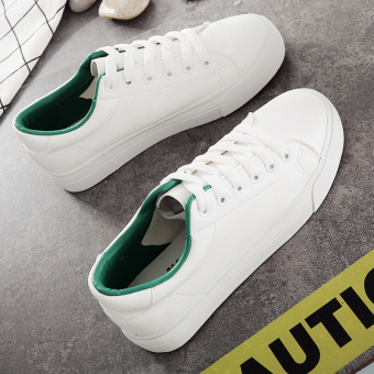 Autumn and Winter leather female muffin bottom Korean-style casual shoes white shoes (White and green)