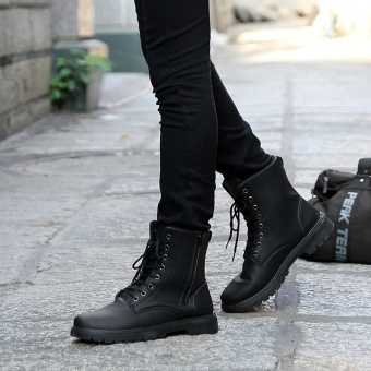 Autumn and Winter male combat boots hight-top boots (Black)