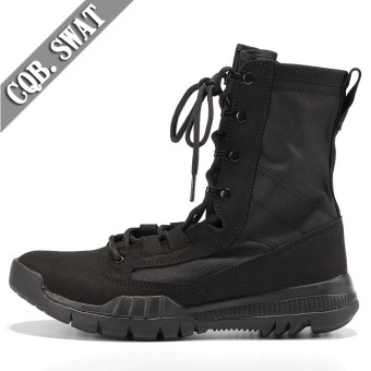 Autumn and Winter men hight-top combat boots (Men's + Black suede color)