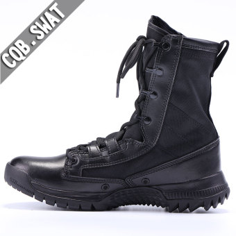 Autumn and Winter men hight-top combat boots (Women's + Black leather color)