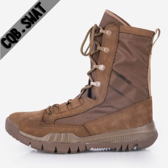 Autumn and Winter men hight-top combat boots (Women's + Brown suede color)