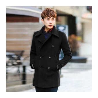Autumn and winter men's woolen coat Slim youth in the longparagraph woolen coat double breasted coat male Fashion jacket(Black) - intl