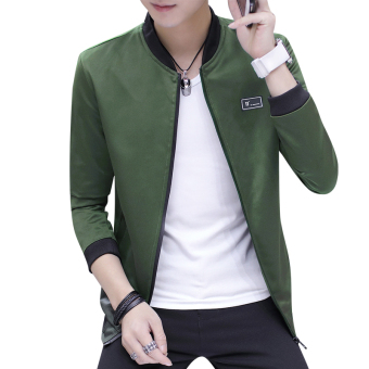 Autumn and Winter Plus velvet autumn New style jacket baseball clothes men's jacket (1701 dark green)