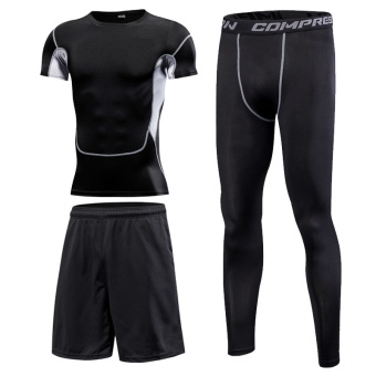 Autumn and Winter running quick-drying breathable basketball training suit fitness clothes ((Breathable short sleeved) 3 sets)