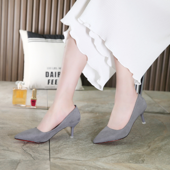 Autumn and Winter thin heeled pointed wedding shoes high-heeled shoes (Gray [with high cm 5cm])