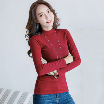 Autumn and Winter versatile Plus velvet female long-sleeved shirt thick bottoming shirt ([In the high collar] wine red color)