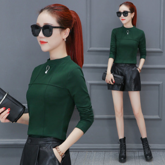Autumn and Winter versatile Plus velvet female warm women's Top base shirt (Dark green color)