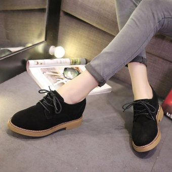Autumn Literature Scrub British Style Tie Leather Shoes for RetroStudents(Black) - intl Price Philippines